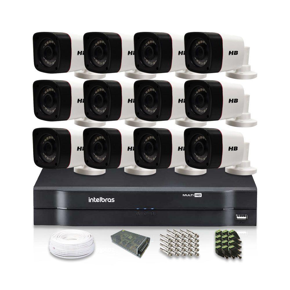 Kit CFTV 12 Câmeras Bullet HB 720p DVR Intelbras 16 canais