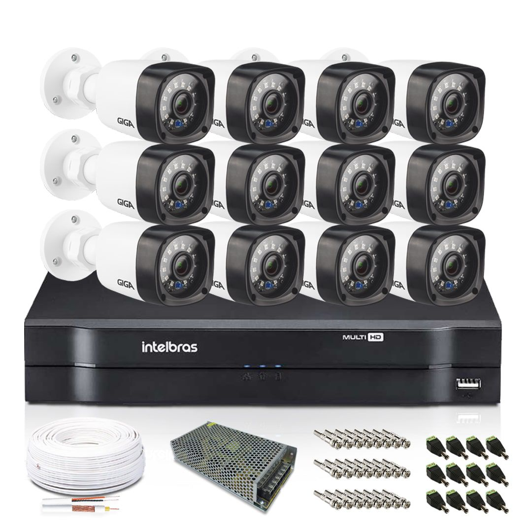 Kit CFTV 12 Câmeras infra Bullet Giga 720p DVR Intelbras 16 ch canais