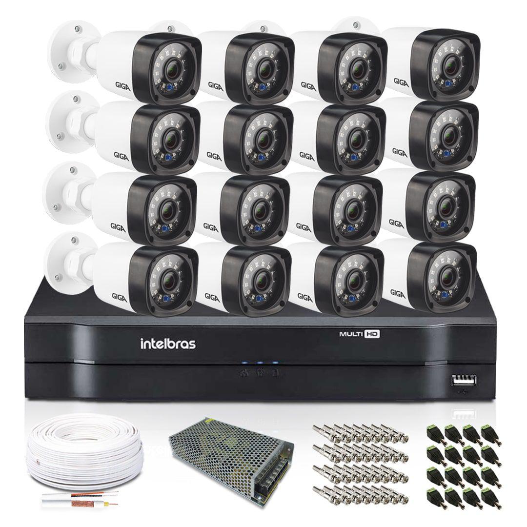Kit CFTV 16 Câmeras Infra Bullet Giga 720p DVR Intelbras 16 canais