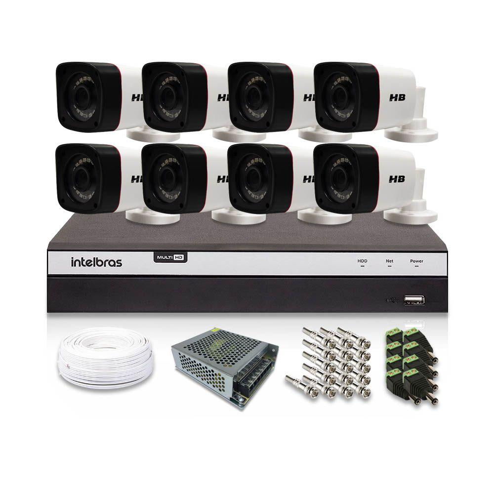 Kit CFTV 8 Câmeras Bullet HB 1080p DVR Intelbras 8 Canais