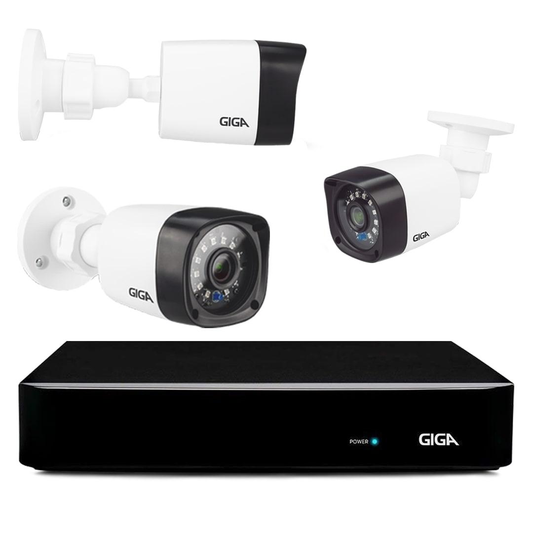 Kit CFTV Giga com 12 Câmeras Bullet 720p DVR 16 Canais