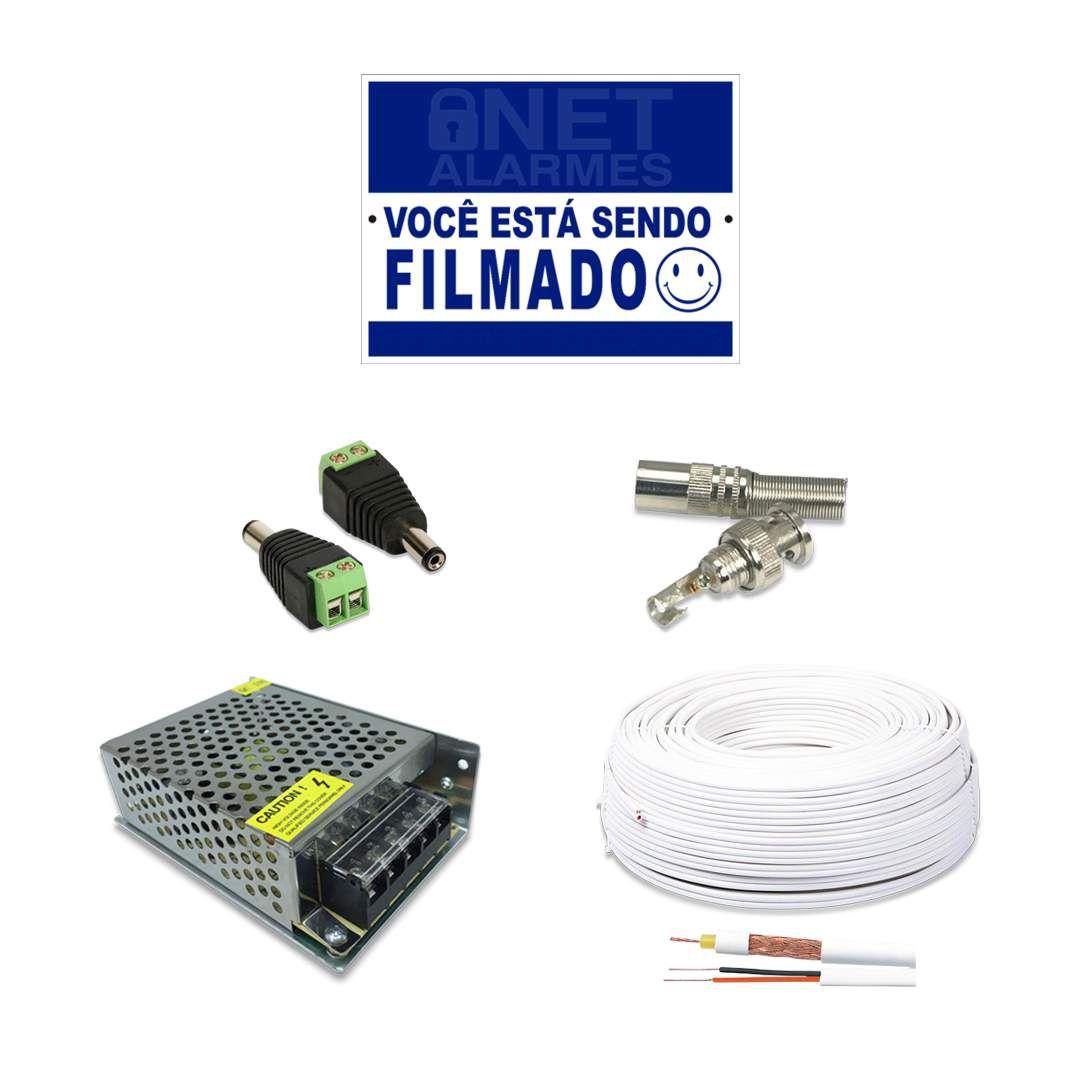 Kit CFTV Intelbras Full HD 4 Câmeras VHD 1220B DVR MHDX 3104