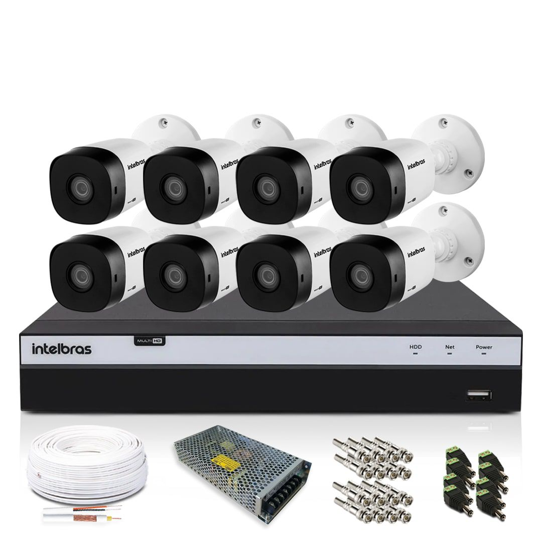 Kit CFTV Intelbras Full HD 8 Câmeras VHD 1220B DVR MHDX 3108