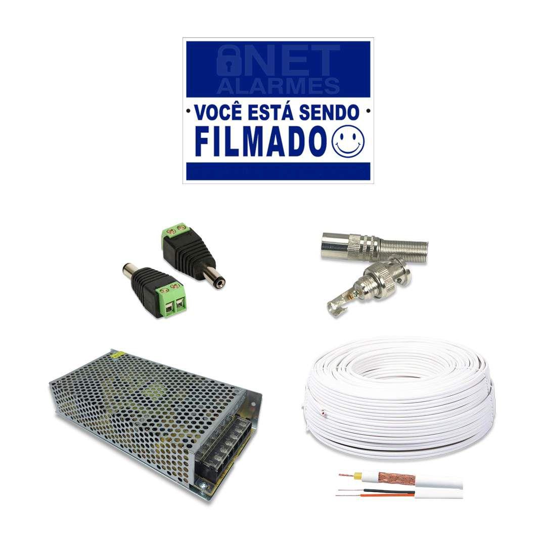 Kit Monitoramento Intelbras com 16 Câmeras de Segurança Dome 1080p