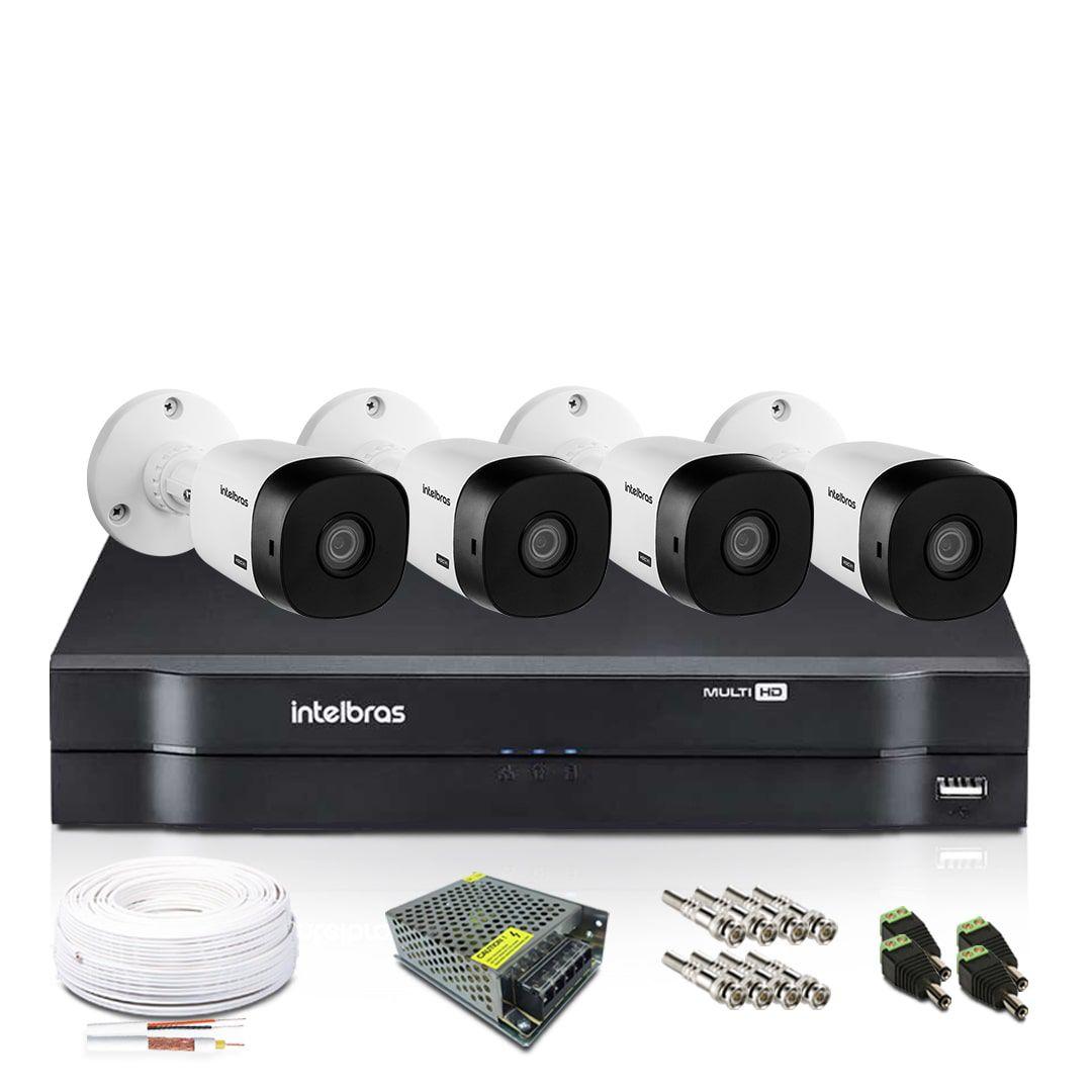 Kit Câmera de Segurança Intelbras com 4 Câmeras de Segurança 1080p