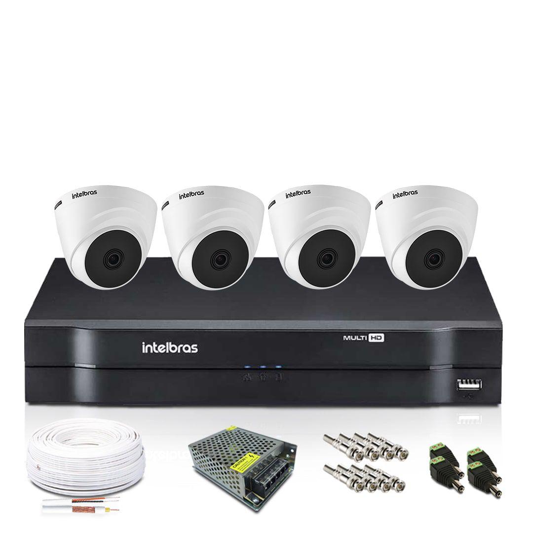 Kit CFTV 4 Câmeras de Segurança Intelbras Dome 720p