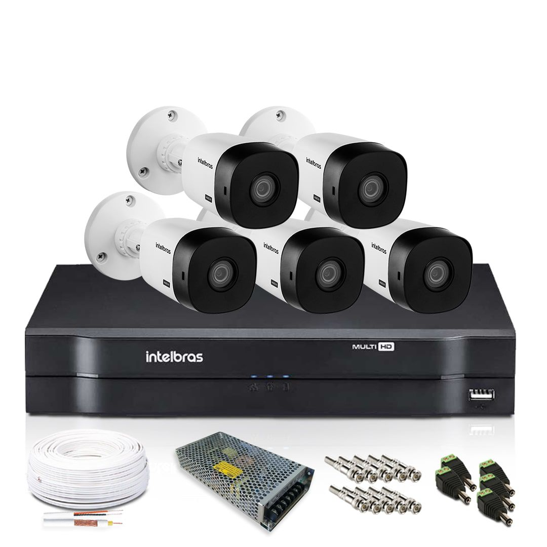 Kit Câmera de Segurança Intelbras com 5 Câmeras de Segurança 720p