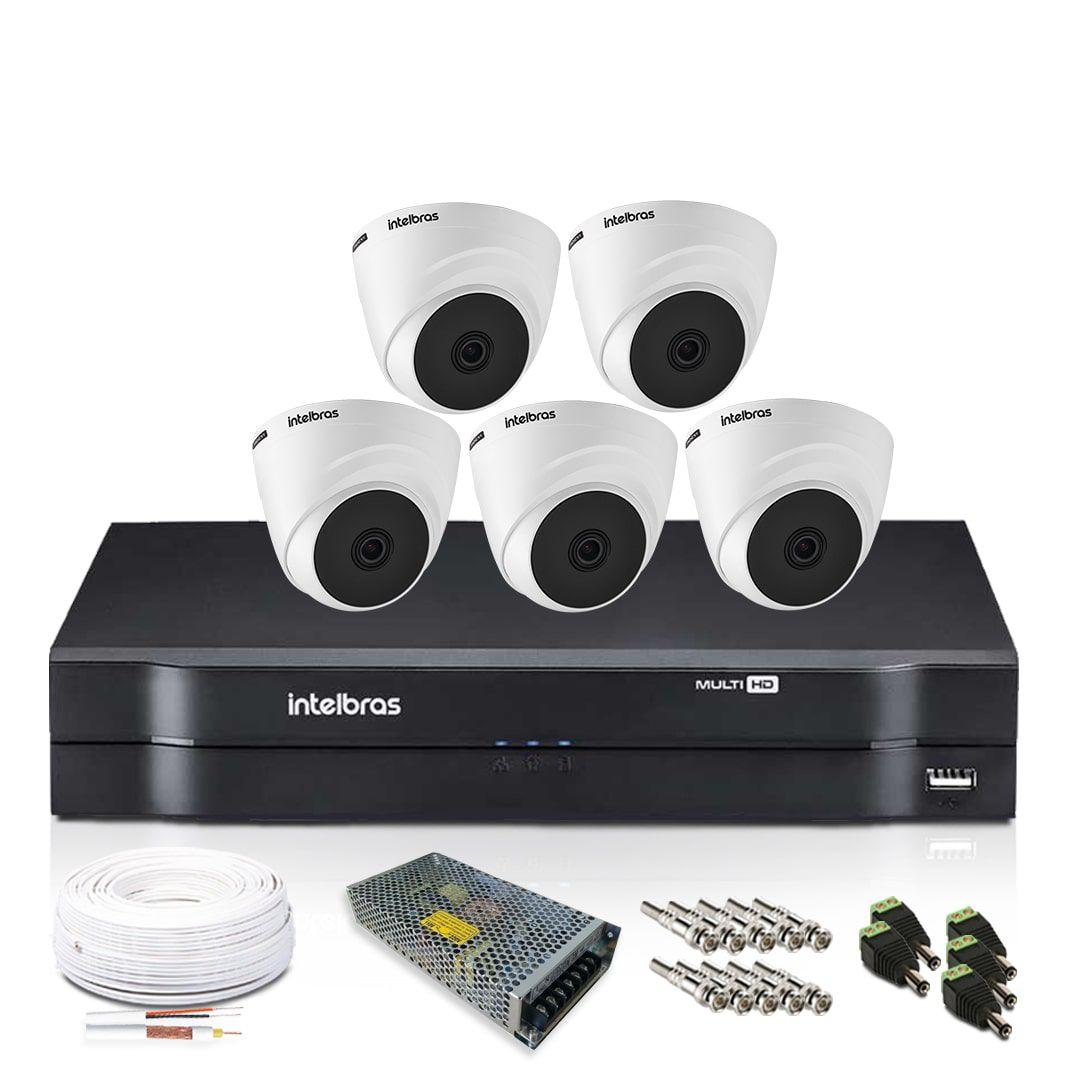 Kit Câmera de Segurança Intelbras com 5 Câmeras de Segurança Dome 720p
