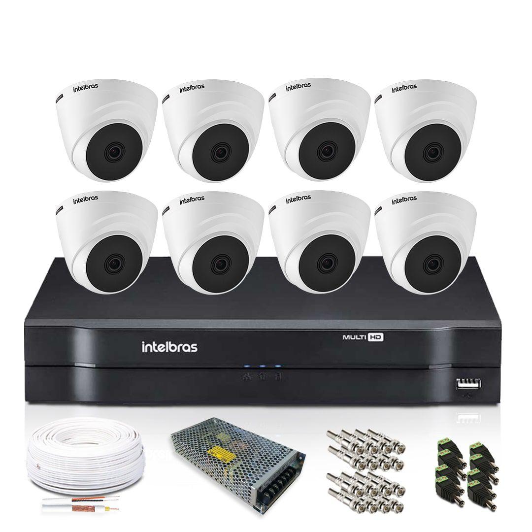 Kit Monitoramento Intelbras com 8 Câmeras de Segurança Dome 1080p