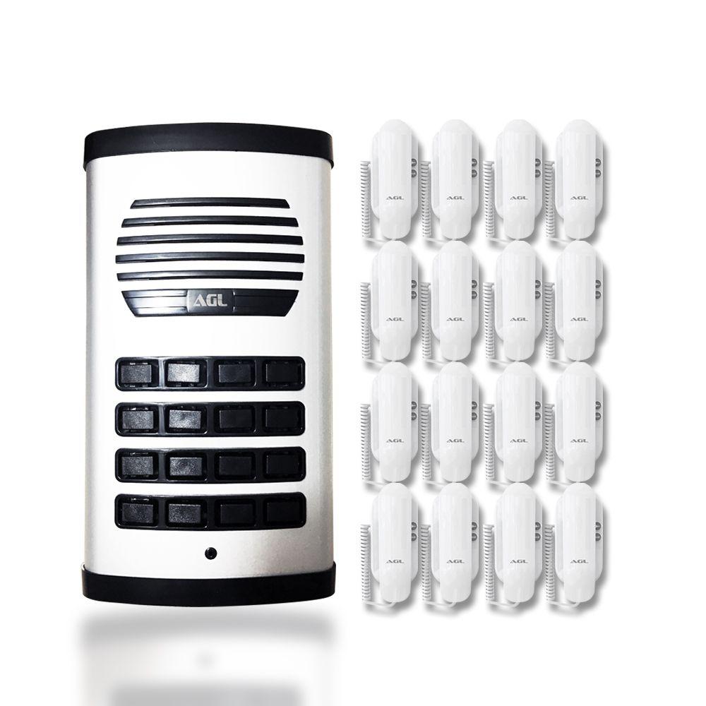 Kit Porteiro Eletrônico Coletivo AGL 16 Pontos e 16 Monofones