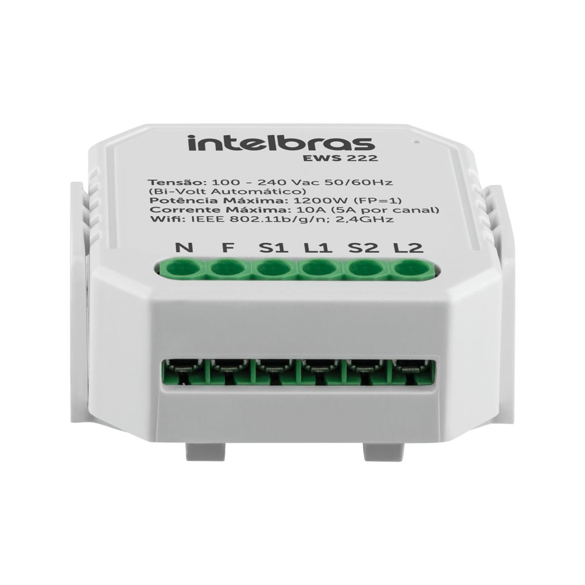 Mini Controlador Smart Wi-Fi Intelbras Entrada 2 Interruptores EWS 222