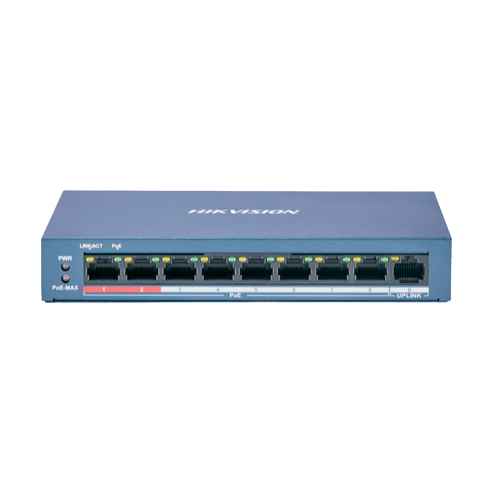 Switch Hikvision PoE Fast Ethernet 8 Portas DS-3E0109P-E/M(B)