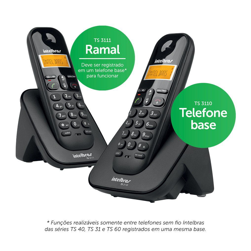 Telefone Sem Fio com Ramal Intelbras TS 3112 Digital
