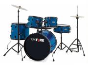 Bateria Pro Fire + Banco + Pedal - Azul