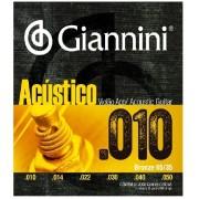 Encordoamento Giannini Violão Aço 010 Acústico 65/35