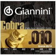 Encordoamento Giannini Violão Aço Cobra 010 85/15