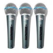 Kit 3 Microfones Leacs LC59 Beta Mão Com Fio