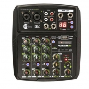 Mesa de som Mixer Custom Sound 4 Canais Usb Bluetooth CMX4CBK