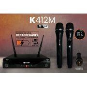 Microfone Kadosh s/ Fio Duplo UHF Profissional K412M Recarregável