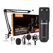 Microfone Ksr Condensador Estúdio Km980 Pro Kit Radio Stream