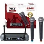 Microfone Sem Fio MXT R202 UHF202 Mão Duplo