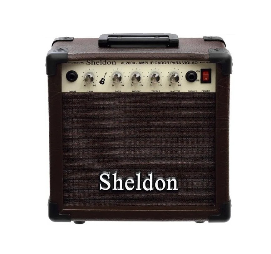 Amplificador Sheldon Para Violão VL2800 20W Marrom  - MegaLojaSP