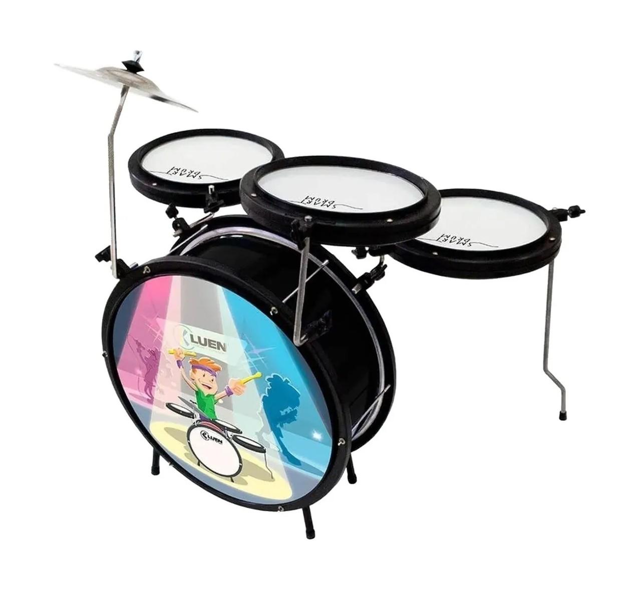 Bateria Luen Infantil Smart Drum Preta 44007PT  - MegaLojaSP