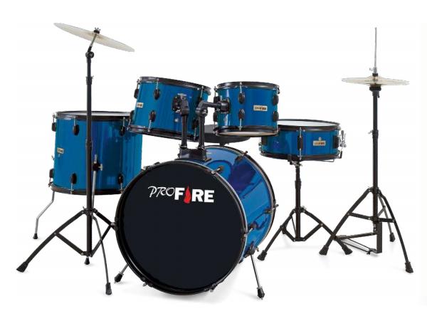 Bateria Pro Fire + Banco + Pedal - Azul  - MegaLojaSP