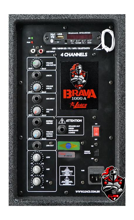 Caixa Amplificadora Leacs Linha Brava 1000 Ativa 150w Rms  - MegaLojaSP