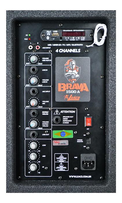Caixa Amplificadora Leacs Linha Brava 1500 Ativa 250w Rms  - MegaLojaSP
