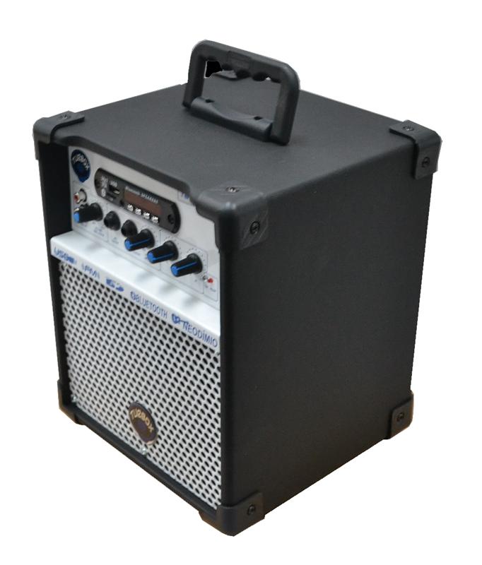 Caixa Multiuso Turbox TB100 Usb / Bluetooth / SD Card / Rádio - Preta  - MegaLojaSP