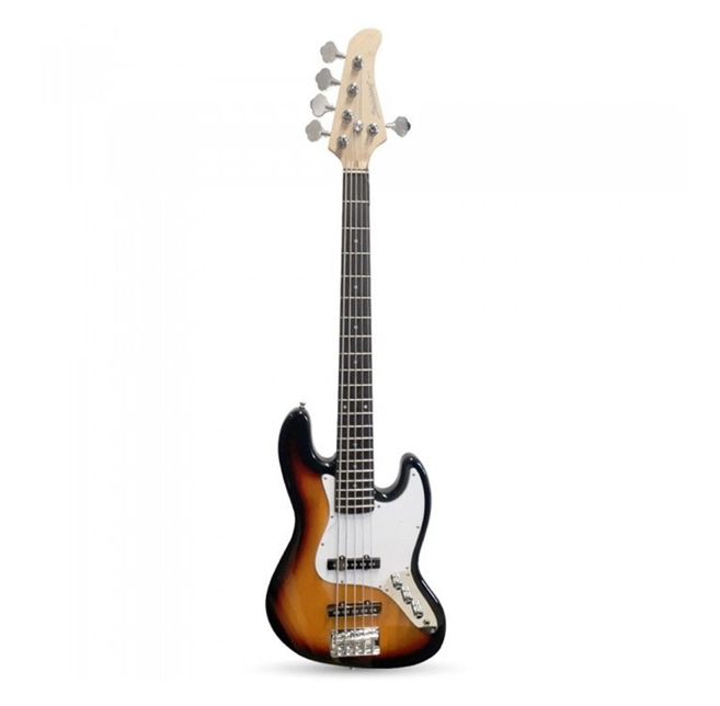 Contrabaixo Strinberg Jazz Bass 5C Sunburst Escudo Branco JBS45SB  - MegaLojaSP