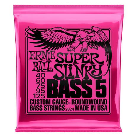 Encordoamento Ernie Ball 2824 Super Slinky bass 5 40-125  - MegaLojaSP