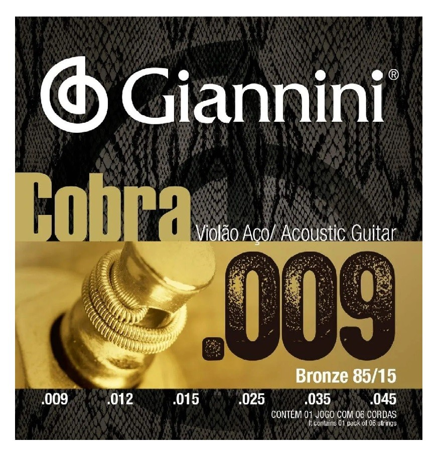 Encordoamento Giannini Cordas Violão Aço .009 GEEWAK  - MegaLojaSP