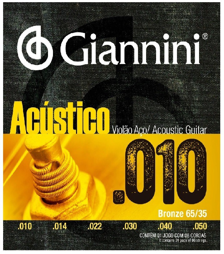 Encordoamento Giannini Violão Aço 010 Acústico 65/35  - MegaLojaSP
