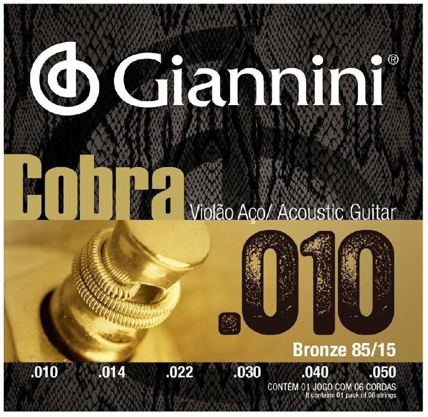 Encordoamento Giannini GEEFLE Violão Aço Cobra 010 85/15  - MegaLojaSP