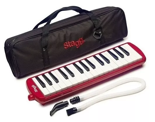 Escaleta Stagg 32 Teclas Vermelha com Capa Bag Profissional  - MegaLojaSP