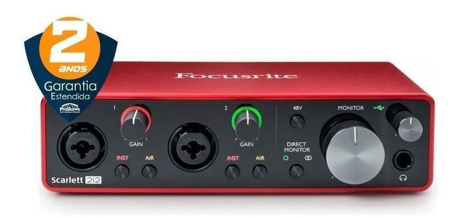 Interface de Áudio Scarlett Usb 2 Canais  2i2 (3rd Gen) - Focusrite  - MegaLojaSP