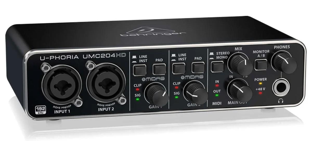 Interface Usb 2x4 24-bit/192 Khz, Midi Behringer Umc204hd  - MegaLojaSP
