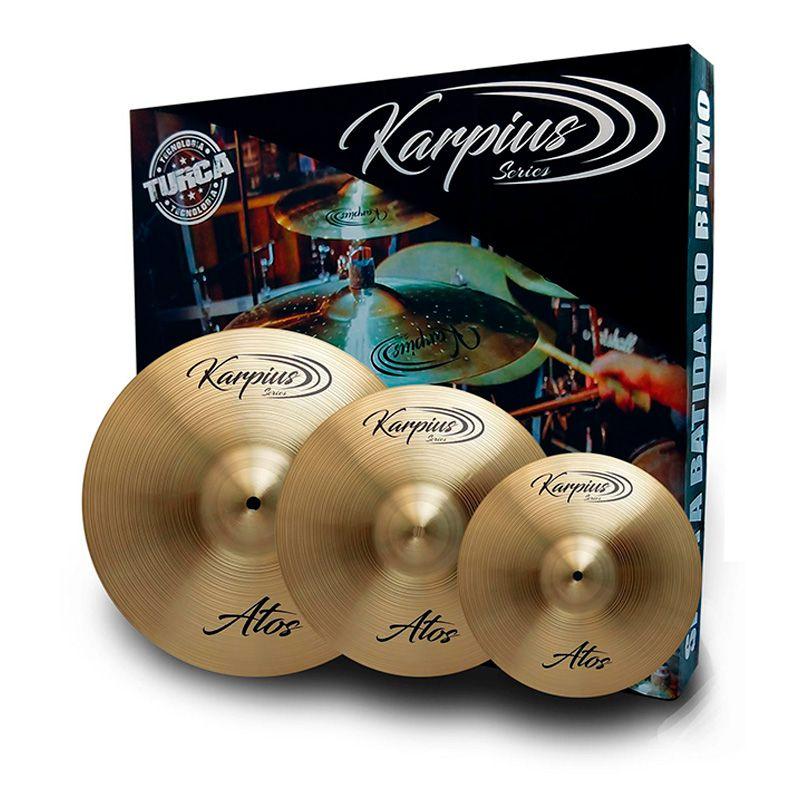 """Kit de Pratos Karpius ATS B20 14"""" 16"""" 20""""  - MegaLojaSP"""