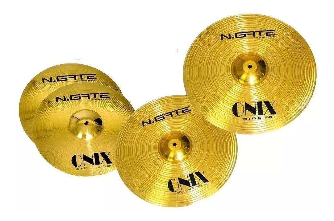 "Kit Pratos Ngate Onix 14"" 16"" 20"" Brass c/bag  - MegaLojaSP"