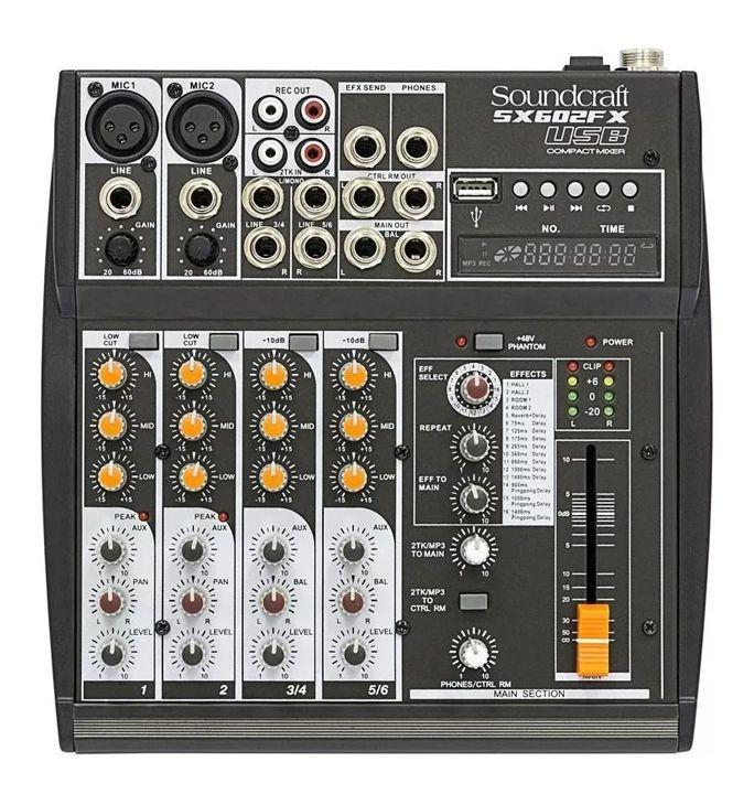 Mesa De Som Soundcraft SX602FX 6 Canais Usb  - MegaLojaSP