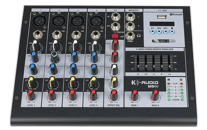 Mesa De Som K-Audio Bluetooth 6 Canais Usb Efeito Ms60  - MegaLojaSP