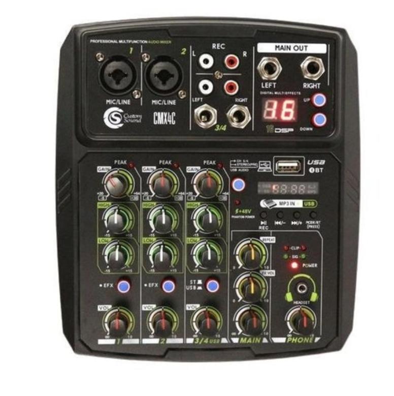Mesa de som Mixer Custom Sound 4 Canais Usb Bluetooth CMX4CBK  - MegaLojaSP