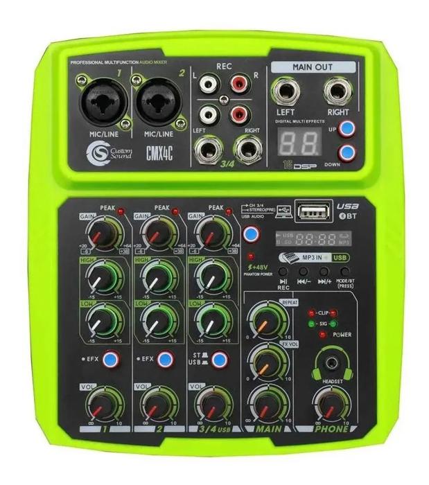 Mesa de som Mixer Custom Sound 4 Canais Usb Bluetooth CMX4CGR  - MegaLojaSP