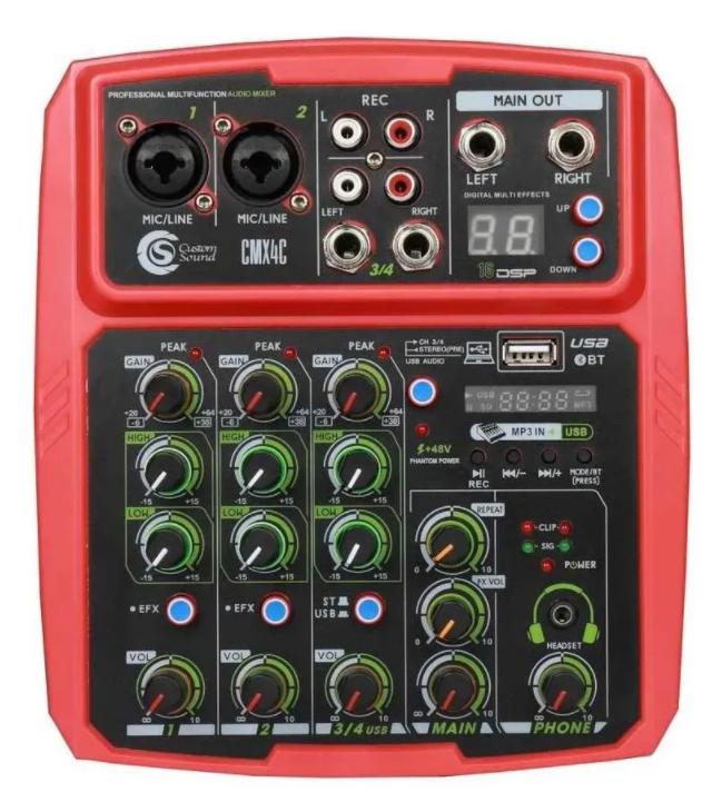 Mesa de som Mixer Custom Sound 4 Canais Usb Bluetooth CMX4CRD  - MegaLojaSP