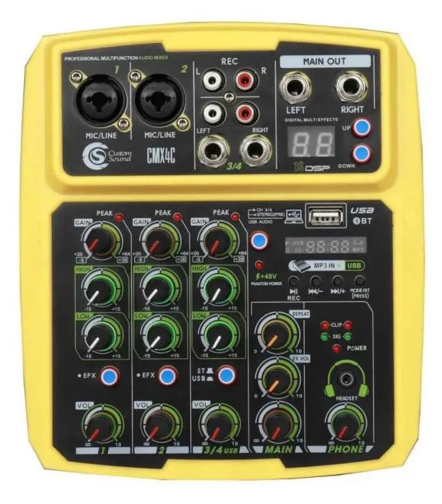 Mesa de som Mixer Custom Sound 4 Canais Usb Bluetooth CMX4CYW  - MegaLojaSP