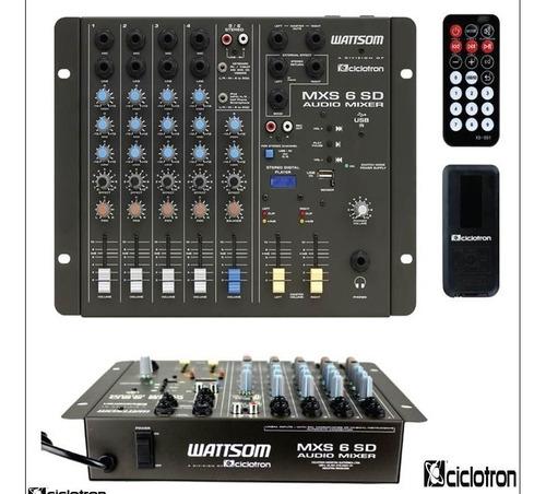 Mesa de Som Wattsom/Ciclotron MXS 6SD USB  - MegaLojaSP