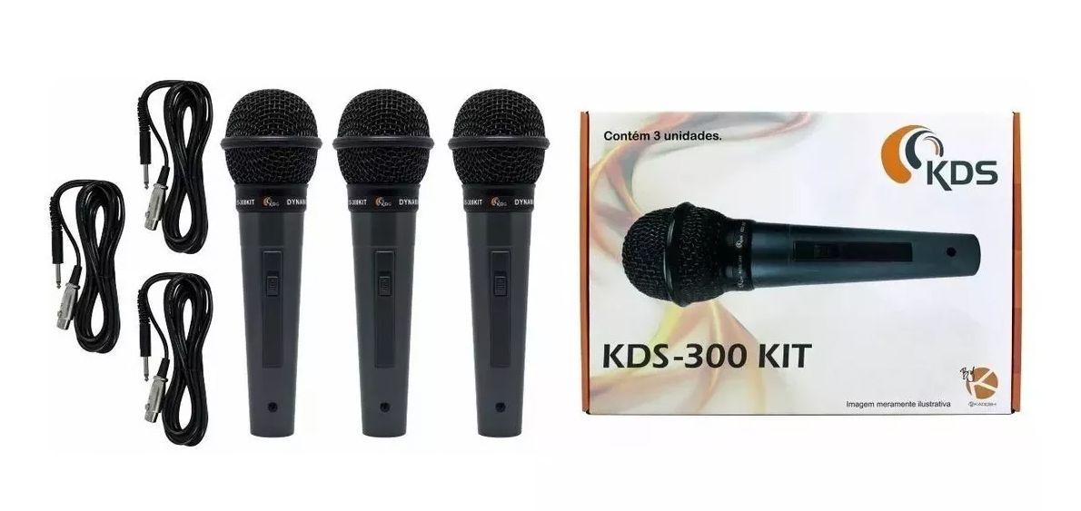 Microfone De Mão Kadosh Profissional Kds300 Kit C/ 3 + Cabos  - MegaLojaSP