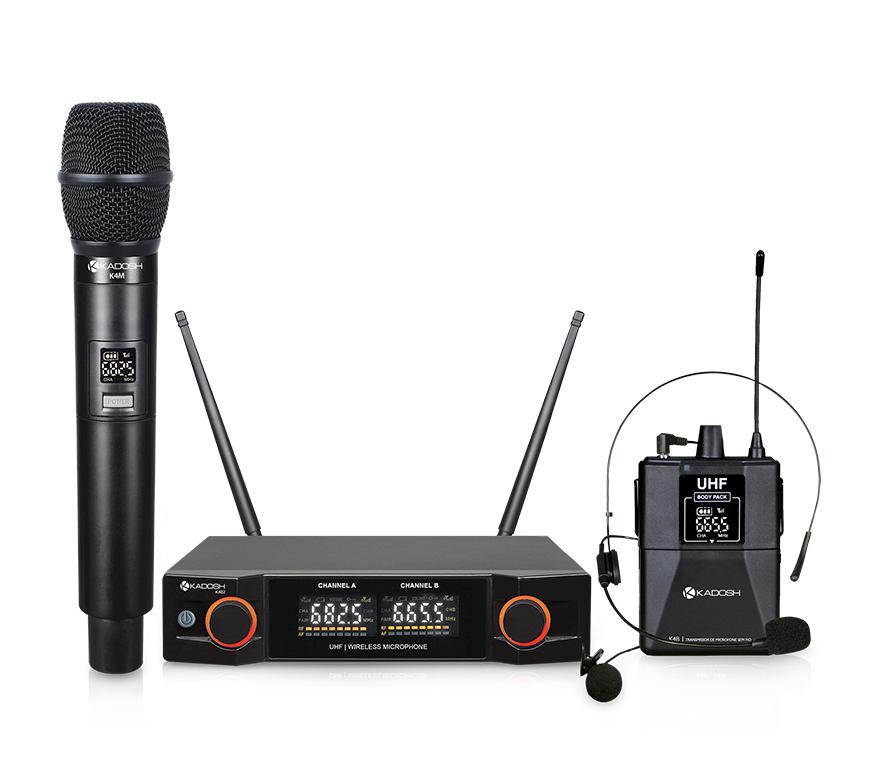 Microfone Kadosh de Mão, Headset e Lapela Sem Fio K402C  - MegaLojaSP